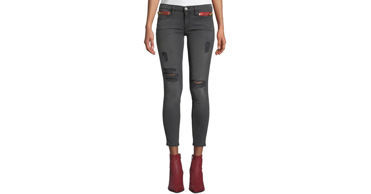 0ac3e4b50645ad Lyst - Etienne Marcel Distressed High-rise Skinny Ankle Jeans With Zipper  Details in Gray