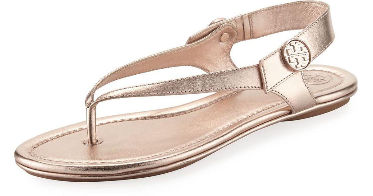 896cfc2a1a59 Lyst - Tory Burch Minnie Metallic Flat Travel Sandal