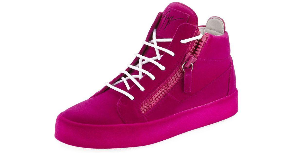 953d200edfa7b Giuseppe Zanotti Flocked Suede Mid-top Sneakers in Purple - Lyst