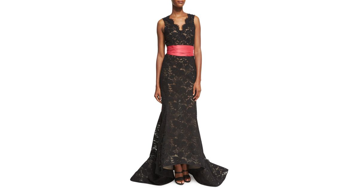 Lyst - Oscar De La Renta Sleeveless Lace Trumpet Gown With Sash in Black