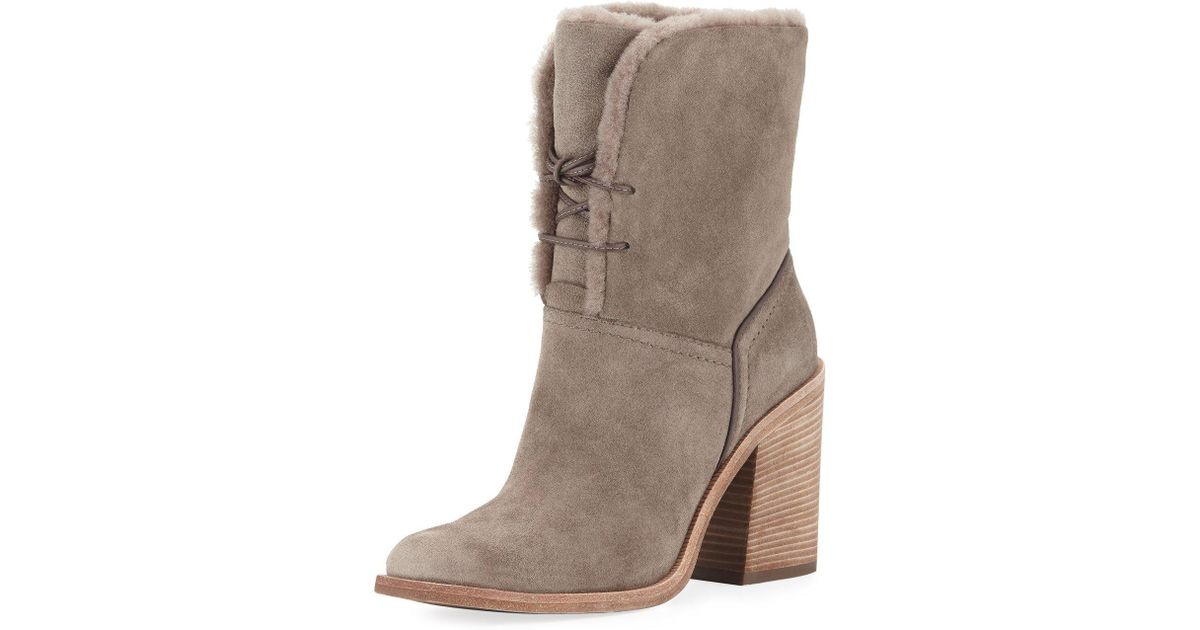 69c88cac3ba Ugg Gray Jerene Shearling-lined Ankle Bootie