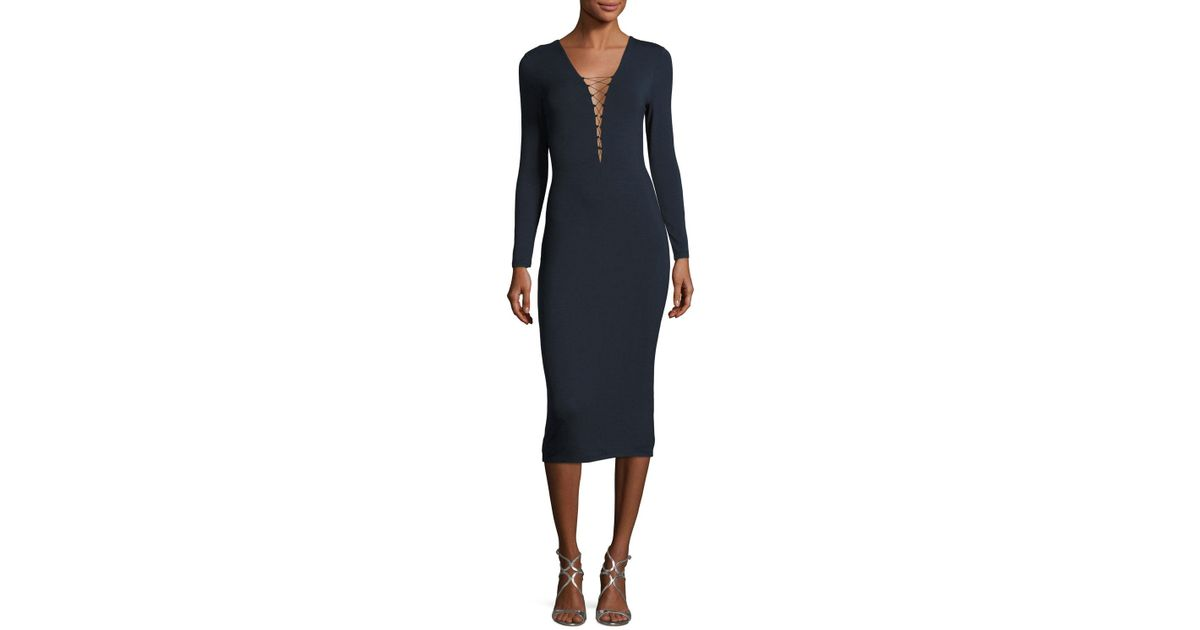 d6dbb85e592 Lyst - T By Alexander Wang Lace-up Long Sleeve Midi Dress in Blue