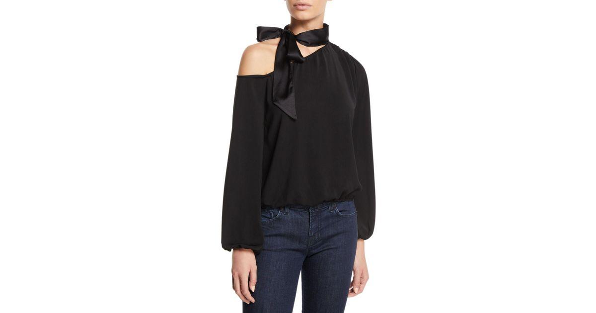 f07d5eeede3c9 Lyst - Ramy Brook Seneca One-shoulder Tie-neck Blouson Top in Black