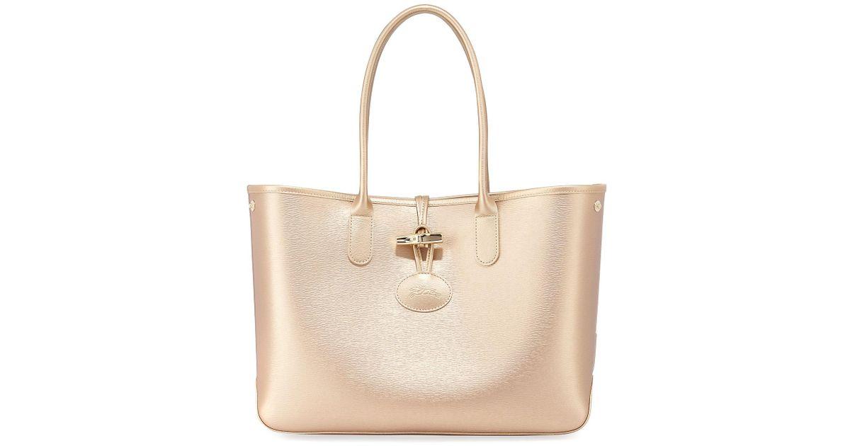c3290daed688 Lyst - Longchamp Roseau Metallic Leather Shoulder Tote Bag