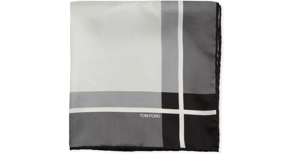 New $190 TOM FORD Gray and Silver Contrast Print Silk Pocket Square