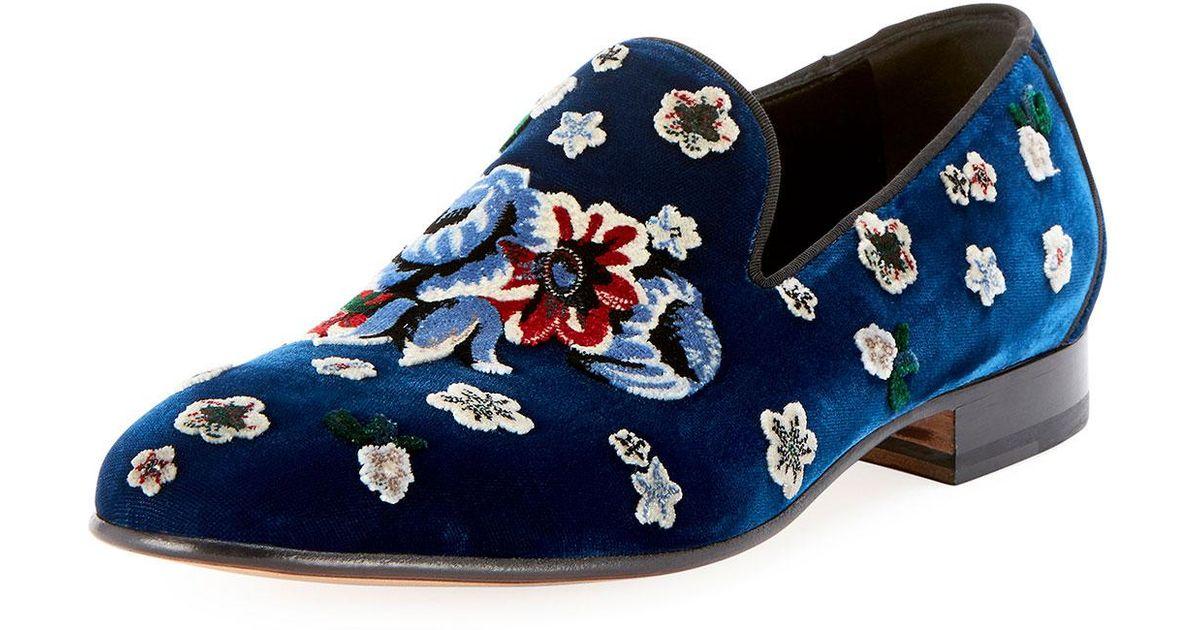 a8d1e38fd39 Lyst - Alexander McQueen Men s Floral-embroidered Velvet Formal Slippers in  Blue for Men