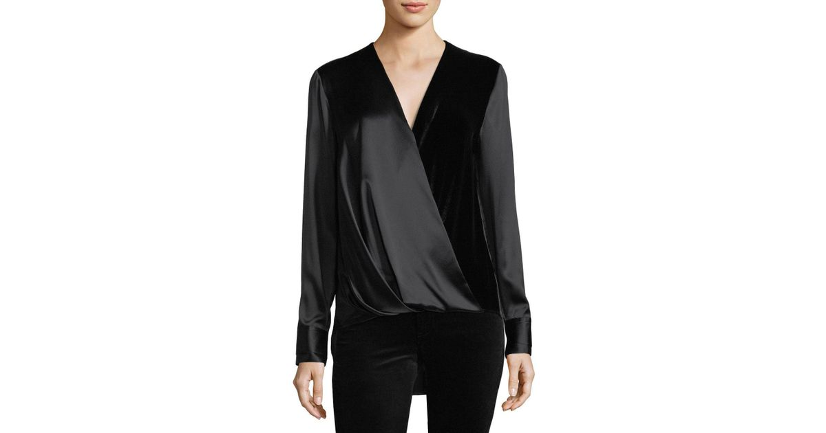 8809aecdcd400 Lyst - Rag   Bone Victor Surplice-neck Long-sleeve Silk Blouse With Velvet  in Black