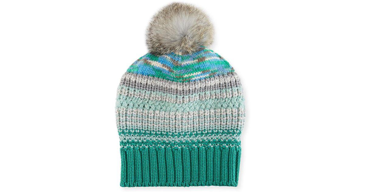 fc34ae6fe8f Lyst - Missoni Striped Beanie Hat W  Fur Pompom in Blue