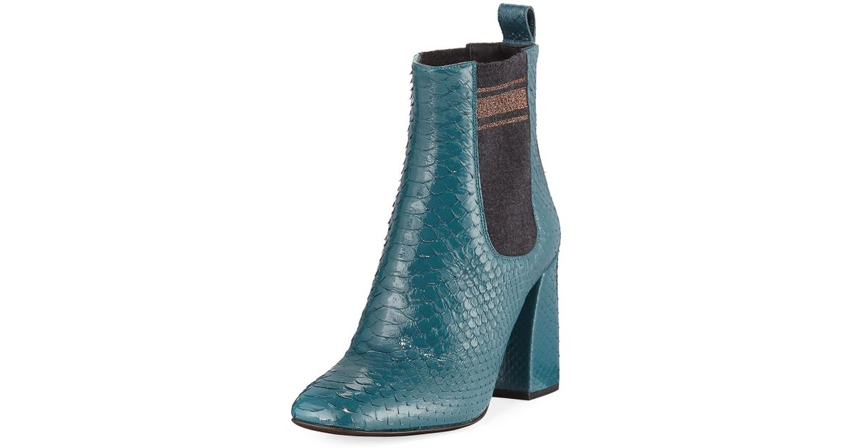 210cab106f0 Lyst - Brunello Cucinelli Block-heel Python Sock-gore Ankle Booties in Blue