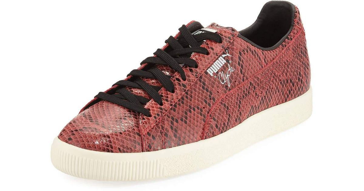 purchase cheap 80eef 3b5e2 PUMA Red Men's Clyde Snakeskin-embossed Leather Low-top Sneaker for men