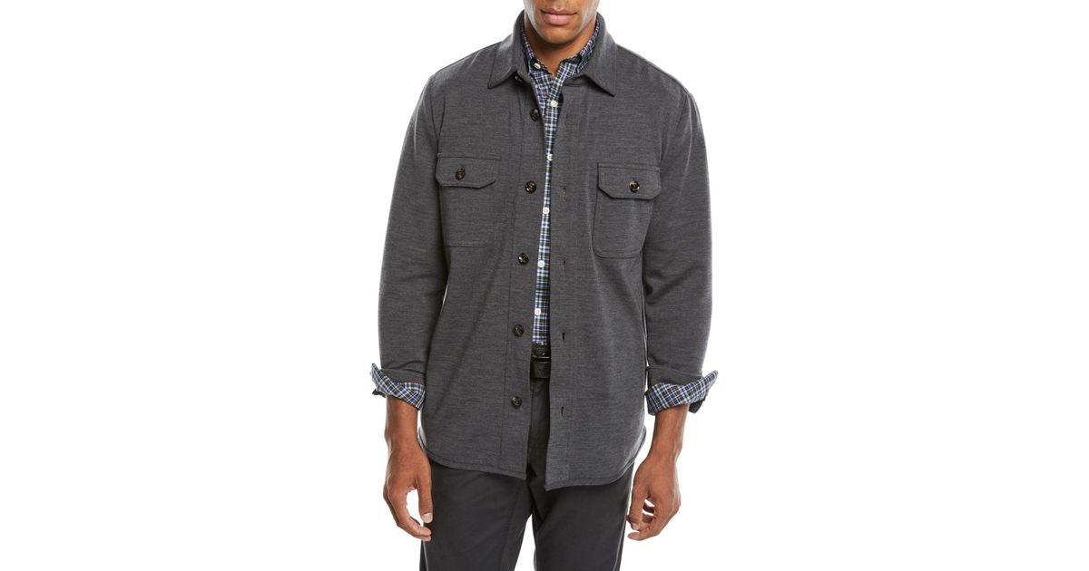 cc9411406 Lyst - Peter Millar Men's Featherweight Journeyman Wool Utility Jacket in  Gray for Men