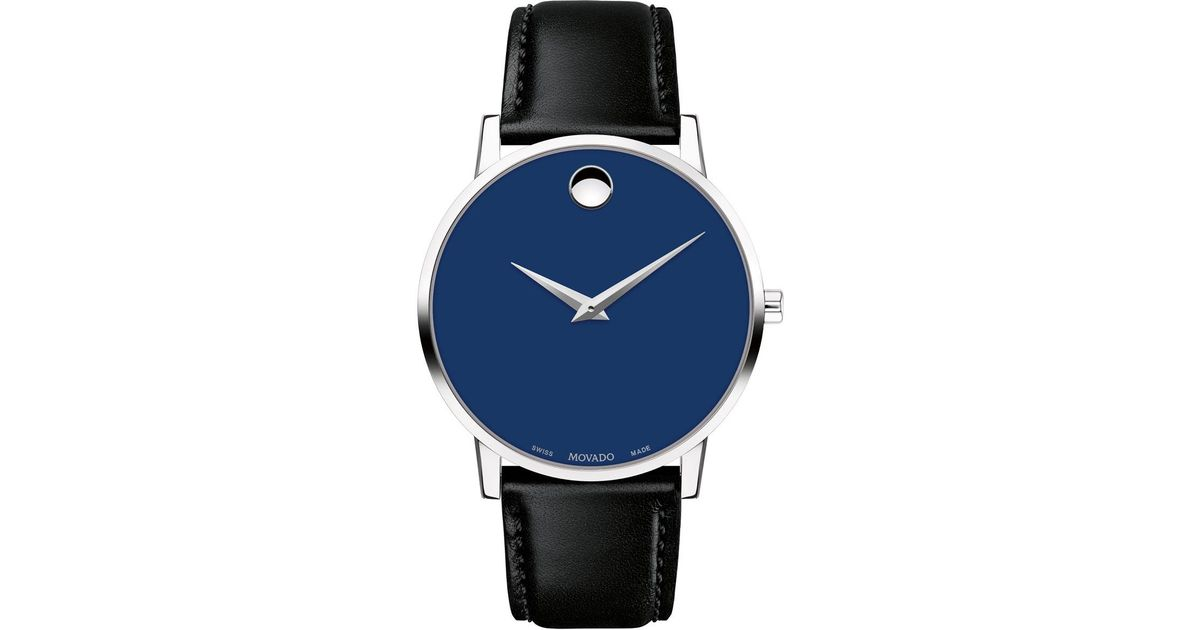Movado Men S 40mm Ultra Slim Watch With Leather Strap Blue Museum Dial For Men Lyst