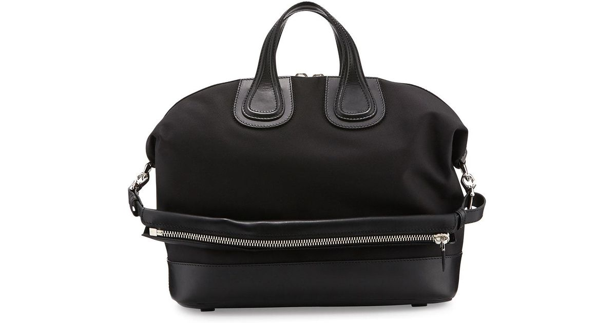 Lyst - Givenchy Nightingale Canvas   Leather Satchel Bag in Black 00bc9a8be69d4