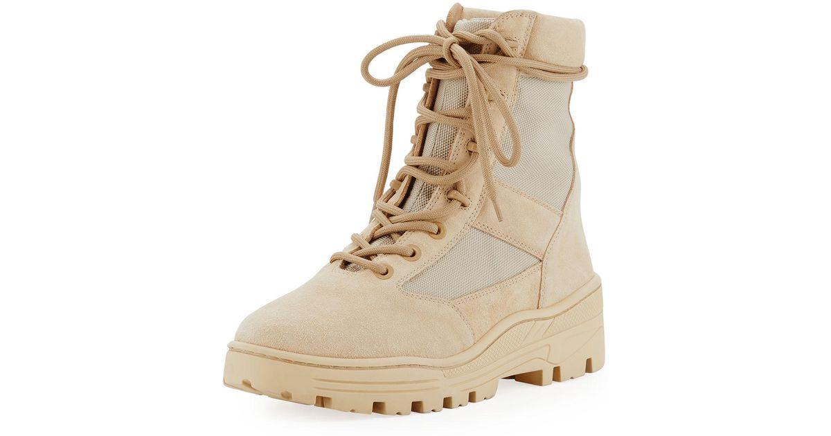 Yeezy Men's Suede \u0026 Mesh Combat Boot in