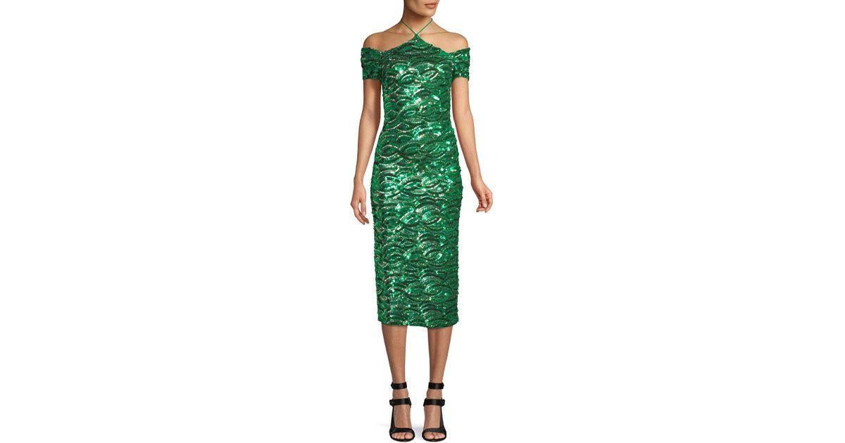 Lyst Alice Olivia Cold Shoulder Sequin Sheath Dress In Green Save 19 89924433249371