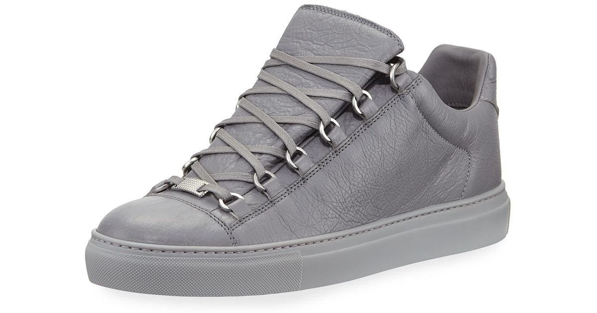 0c0d6b3d96afd Lyst - Balenciaga Men s Arena Leather Low-top Sneakers in Gray for Men