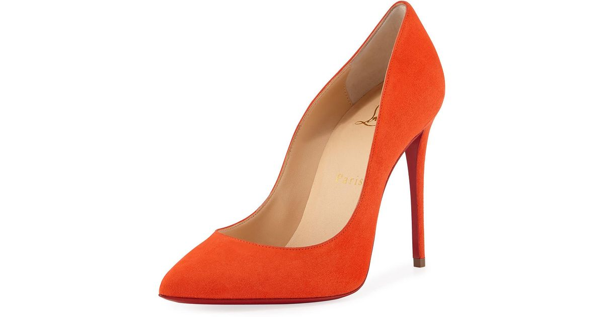 Christian Louboutin Orange Pigalle Follies Suede Point toe Red Sole Pump