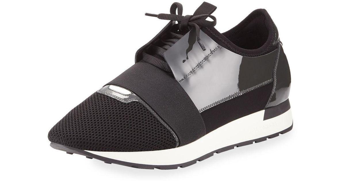 7e4a0bbddd1d Lyst - Balenciaga Men s Patent Race Runner Mesh   Leather Sneaker in Black  for Men