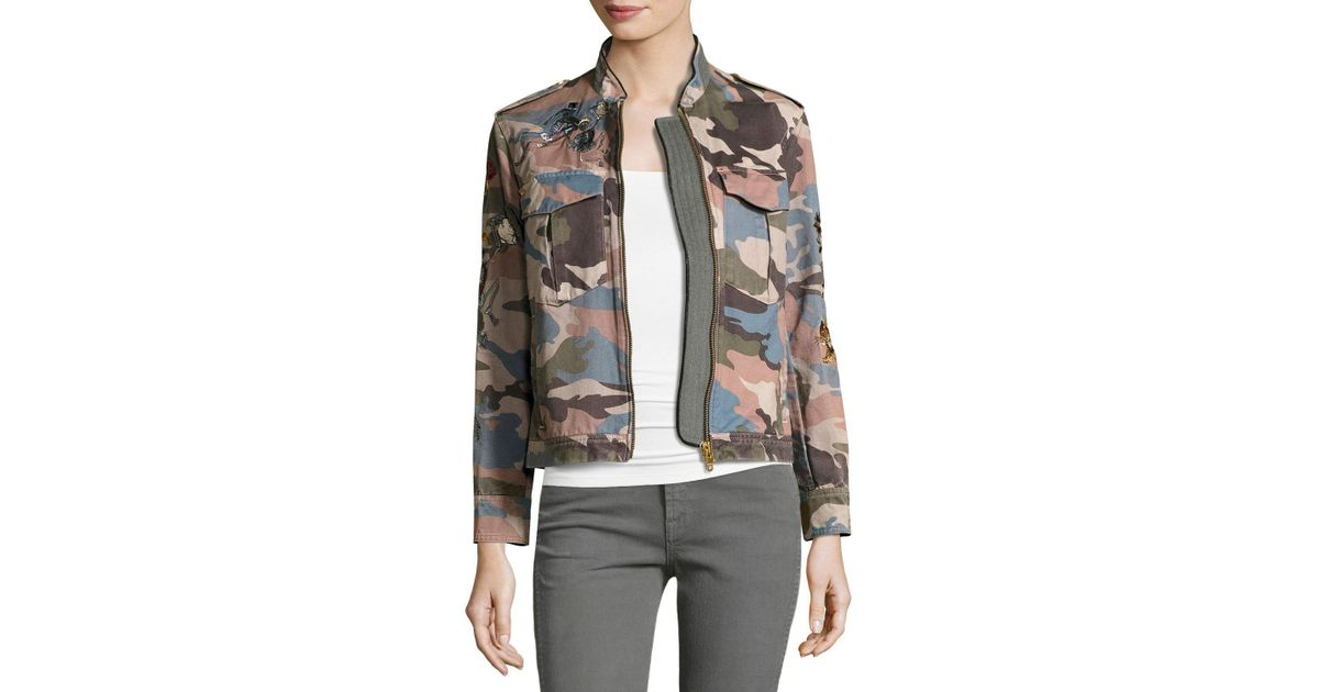 b6106f146cd05 Zadig & Voltaire Kavy Embroidered Camo Utility Jacket - Lyst