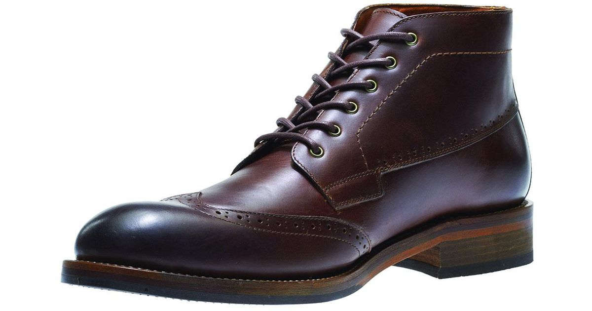ade129a9354 Wolverine Brown Harwell Leather Wing-tip Boot for men