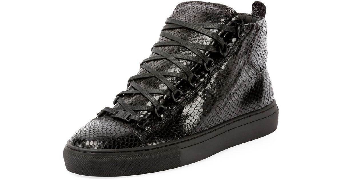 1dec948eba4b Lyst - Balenciaga Men s Arena Faux-python Leather High-top Sneaker in Black  for Men