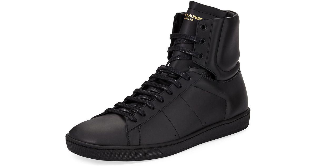 76203312 Saint Laurent Black Sl/10h Men's Signature Court Classic Leather High-top  Sneakers for men