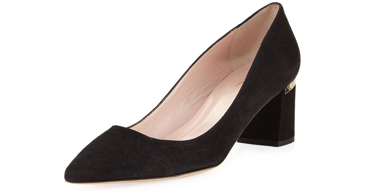 a958a7b258a5 Lyst - Kate Spade Milan Too Chunky-heel Suede Pump in Black