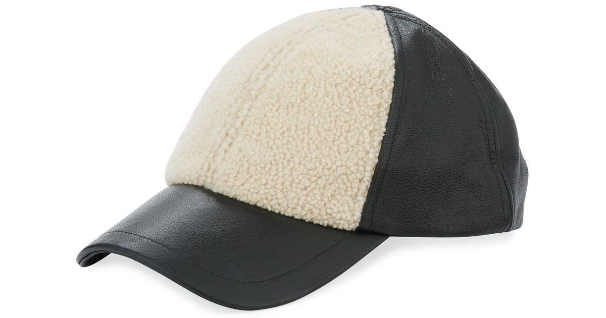 58ab31526 Ugg Black Curly Pile Leather Baseball Hat for men