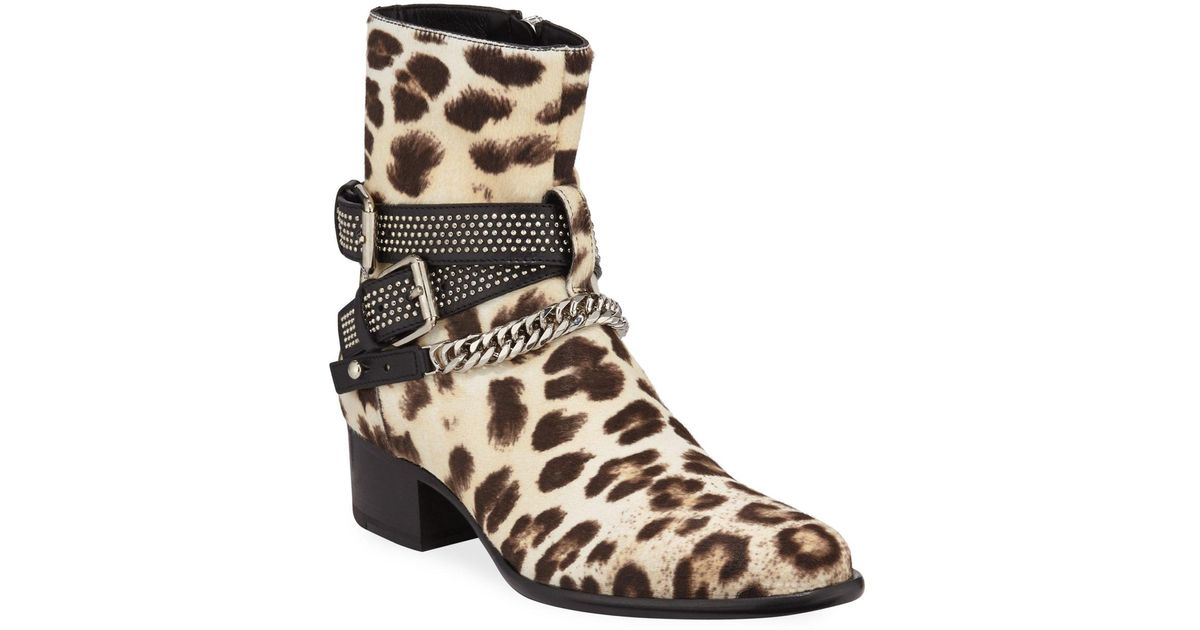 Amiri Leather Men's Leopard-print Calf