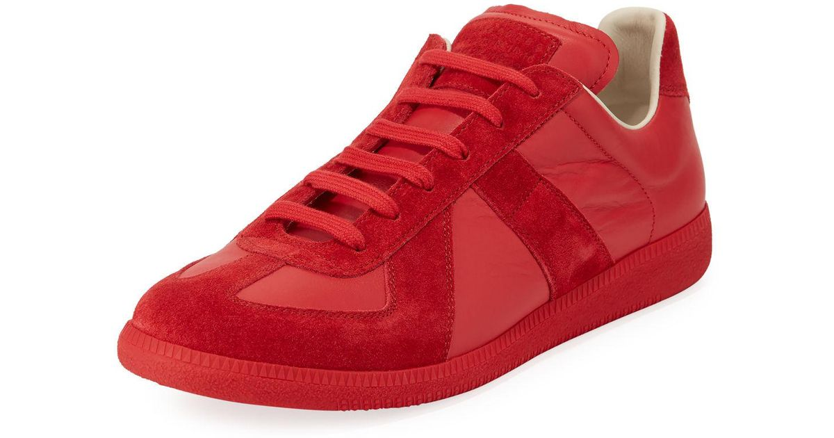 c849e671bd2 Maison Margiela Red Men's Replica Leather & Suede Low-top Sneakers for men