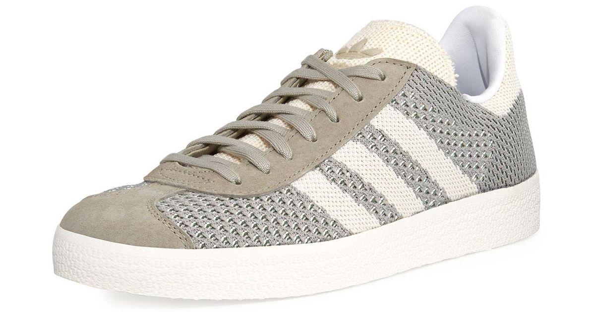 lyst adidas gazzella originale primeknit scarpe bianche