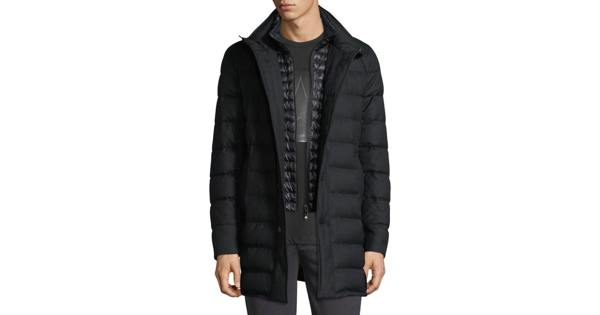 6588a3a57 Moncler Black Vallier Quilted Down Coat for men