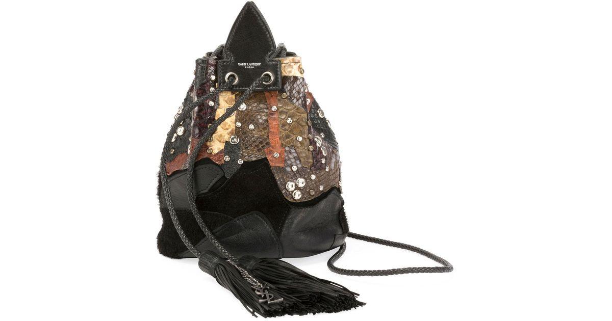 3aa5aff416 Saint Laurent Black Anja Python Multicolor Bucket Bag