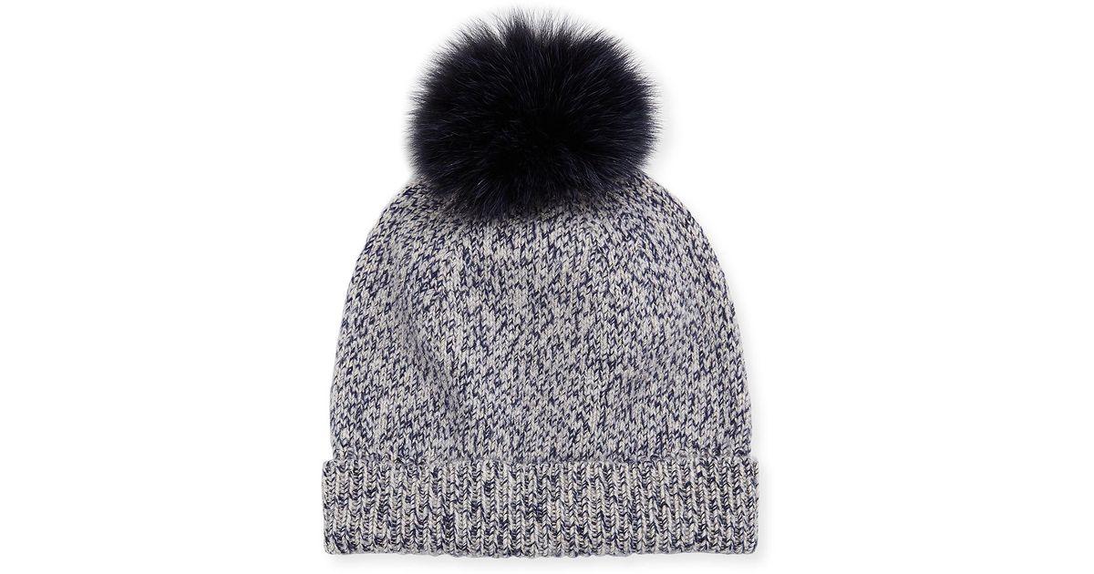 11555faf0 Sofia Cashmere - Gray Marbled-knit Beanie Hat W/ Fur Pompom - Lyst