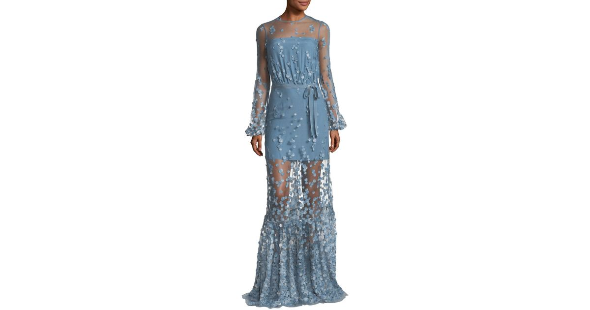 Lyst - Alexis Corra High-neck Illusion Evening Gown in Blue