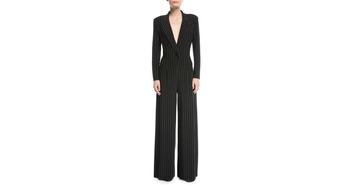 0d49fcf2d7fe Lyst - Norma Kamali Tuxedo V-neck Pinstripe Jumpsuit in Black