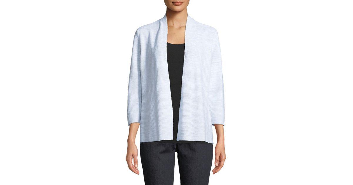 f73b550c2ea Lyst - Eileen Fisher 3/4-sleeve Slub Simple Cardigan in White