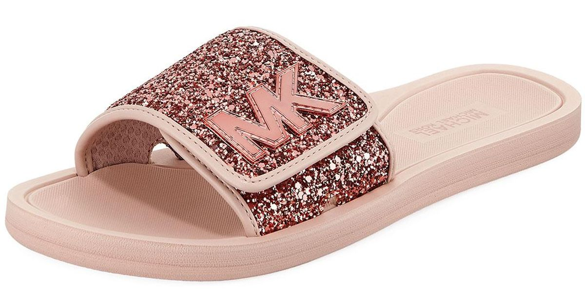 1be6f3b8cbe3 Lyst - MICHAEL Michael Kors Mk Glitter Slide Sandal in Pink