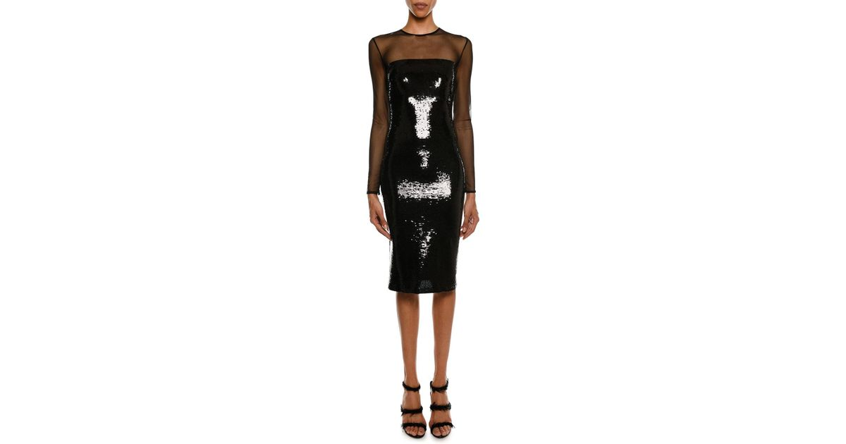 6eaa1e9270d Tom Ford Long-sleeve Illusion-yoke Fitted Sheath Cocktail Dress in Black -  Lyst