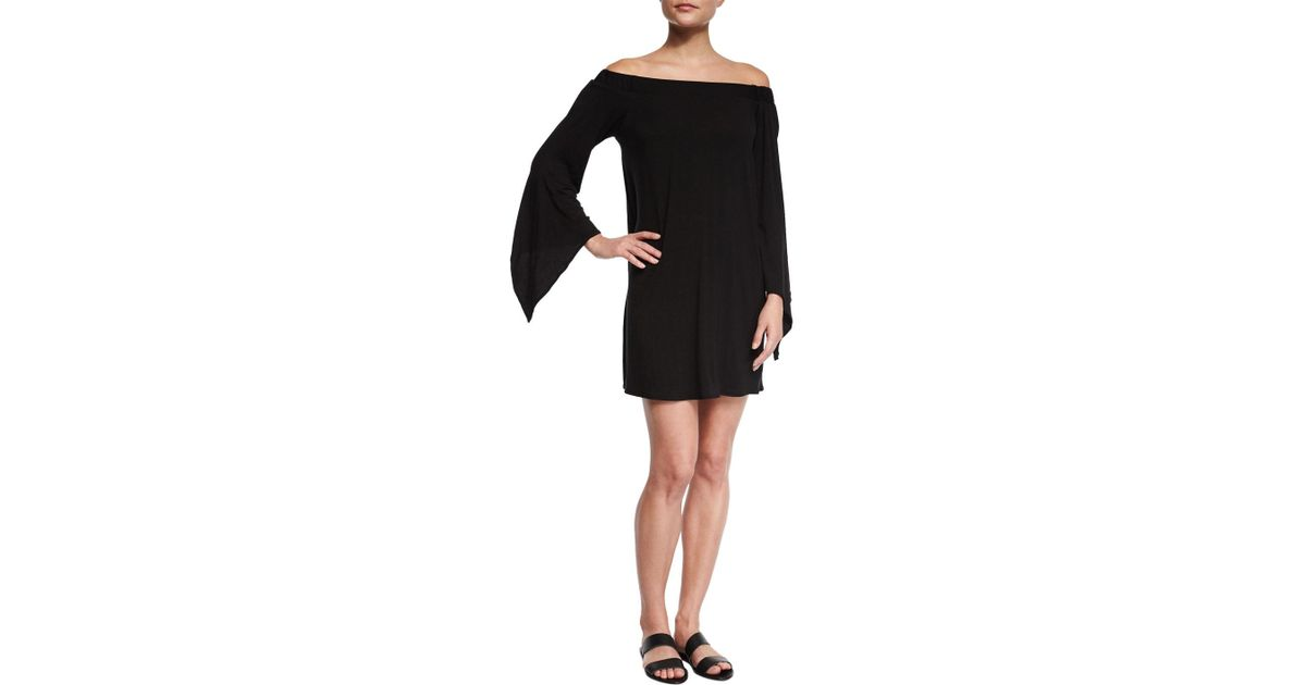 fa9983b0283c3 Lyst - Luxe By Lisa Vogel Liquid By Luxe Bell-sleeve Coverup Dress in Black