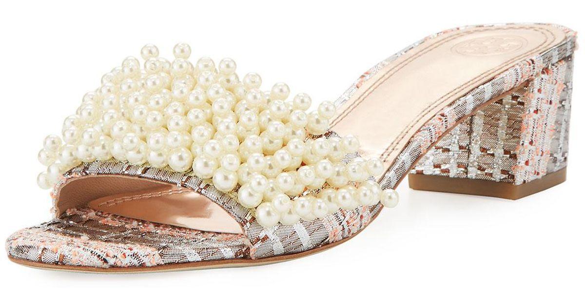 1e63955c674c Lyst - Tory Burch Tatiana Pearly Tweed Slide Sandal