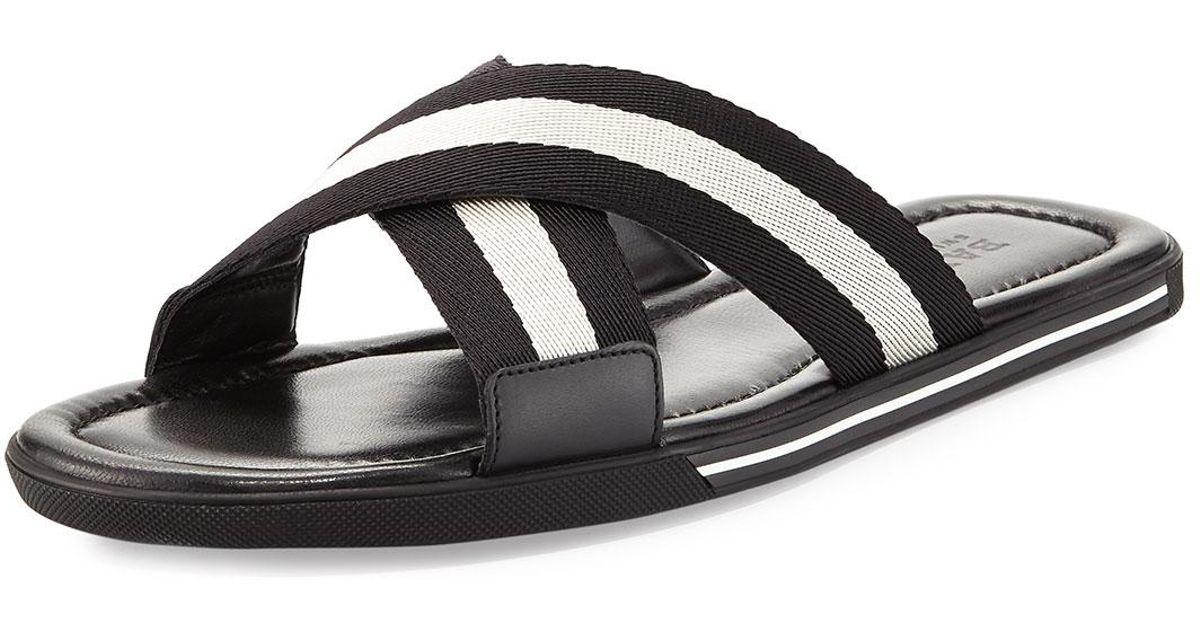 cee49aab5d98 Lyst - Bally Bonks Men s Trainspotting-stripe Fabric Slide Sandal in Black  for Men