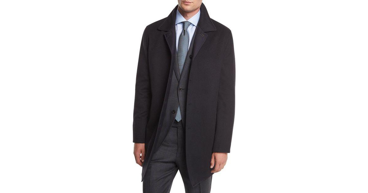 6cdfea18 Ermenegildo Zegna Blue Reversible Wool/cashmere Coat for men