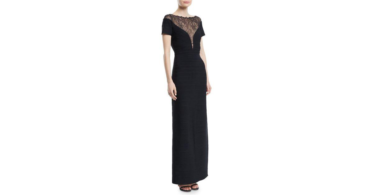 Lyst - Hervé Léger Short-sleeve Bandage Column Evening Gown With ...