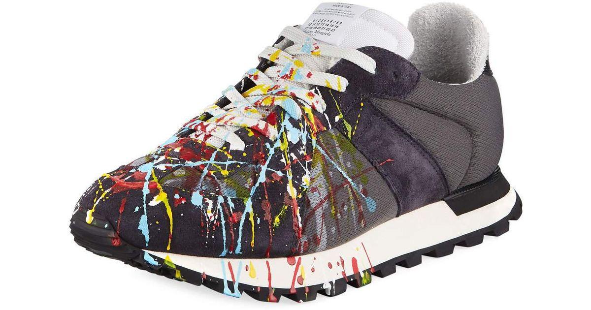 36d9fba91a2 Maison Margiela Multicolor Men's Replica Paint-splatter Suede-trim Running  Sneakers for men