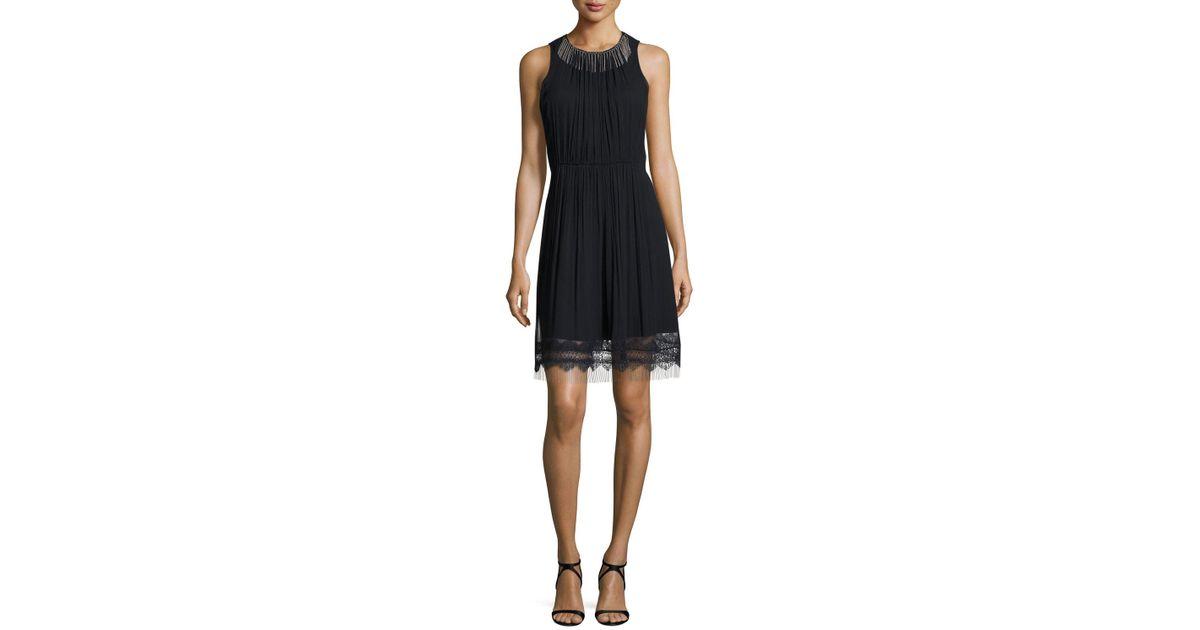 5f5ceb8977225 Elie Tahari Demetria Sleeveless Chain-trim Silk Dress in Blue - Lyst