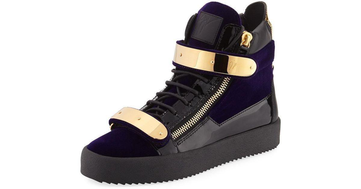 7768062cbfa Giuseppe Zanotti Purple Men's Velvet Double-bar High-top Sneaker for men