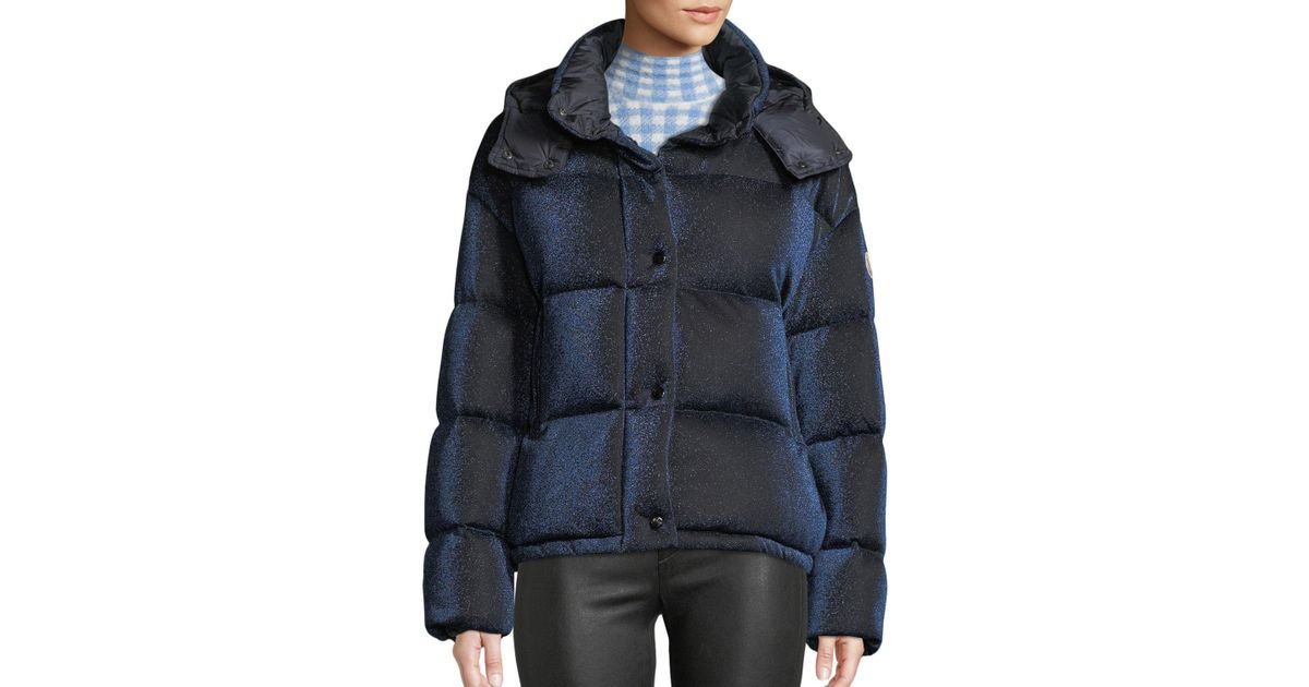 181071db4 Moncler Blue Caille Metallic Puffer Coat W/ Removable Hood