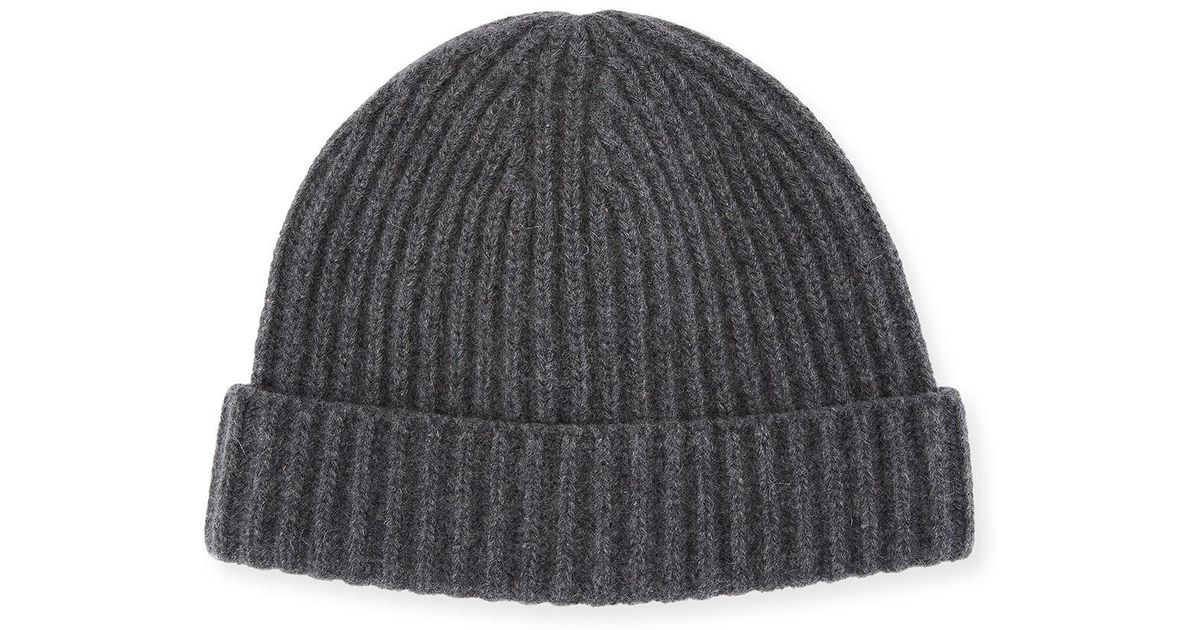 fccb455a72a Lyst - Portolano Men s Ribbed Cashmere Beanie Hat in Gray for Men