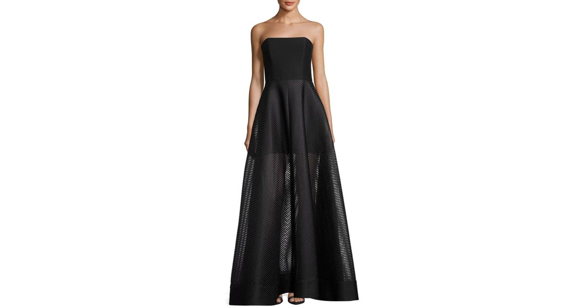 Lyst Halston Heritage Strapless Evening Gown W Sheer Striped Skirt In Black